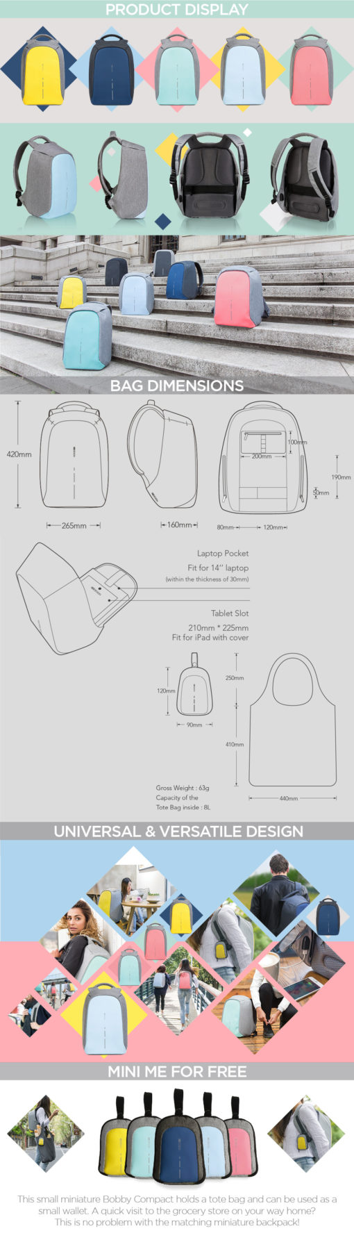 Bobby backpack colors 2